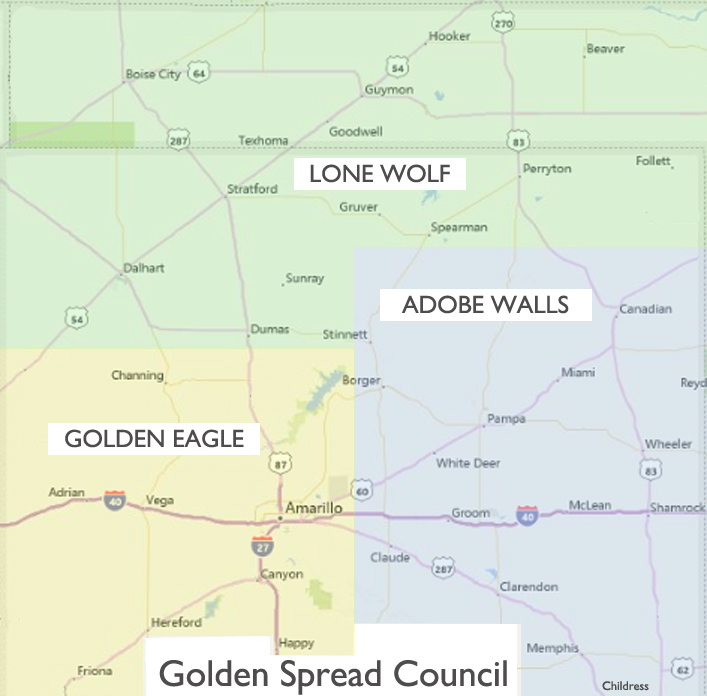 Golden Spread Council District Map